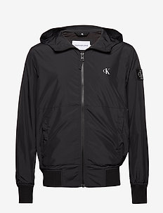 HOODED BLOCKING NYLON JACKET - windjassen - ck black/white