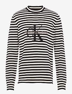 MONOGRAM SWEATER - logo t-shirts - ck black/egret