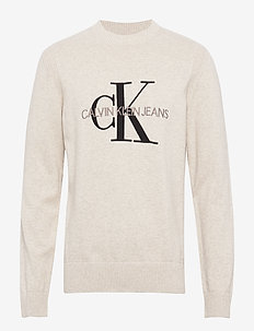 MONOGRAM SWEATER - long-sleeved t-shirts - ice grey heather