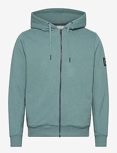 MONOGRAM BADGE ZIP UP HOODIE - hoodies - vapor green