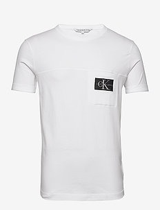MONOGRAM BADGE POCKET TEE - t-shirts à manches courtes - bright white