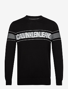 LOGO TAPE CREW NECK SWEATER - sweatshirts - ck black