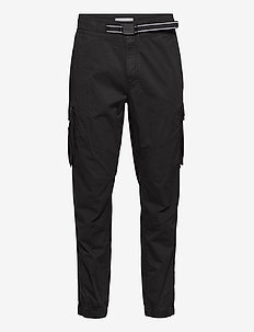 BELTED MIXED MEDIA SLIM CARGO - cargohose - ck black