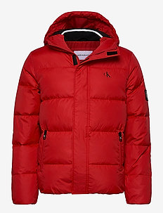 HOODED DOWN PUFFER JACKET - toppatakit - red hot
