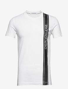VERTICAL LOGO TAPE TEE - short-sleeved t-shirts - bright white
