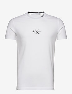 CENTER MONOGRAM TEE - podstawowe koszulki - bright white