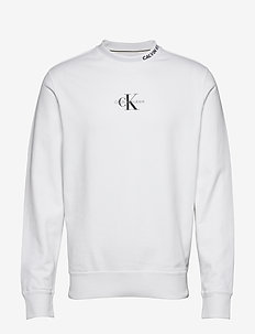 CENTER MONOGRAM CREW NECK - basic sweatshirts - bright white