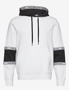 BLOCKING LOGO TAPE HOODIE - basic sweatshirts - bright white