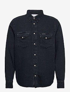 MODERN WESTERN - chemises basiques - bb060 - mid blue black