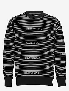 STRIPE LOGO AOP CREWNECK - swetry - ck black