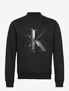 SHINY MONOGRAM CREW NECK - sweats - ck black