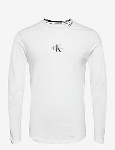 CENTER MONOGRAM LS TEE - långärmade t-shirts - bright white