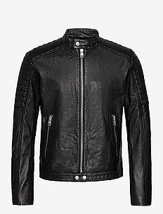 LEATHER MOTO JACKET - leather jackets - ck black