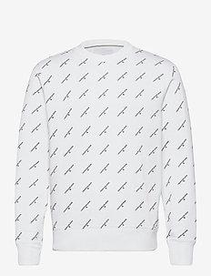 AOP MONOGRAM CREW NECK - swetry - bright white