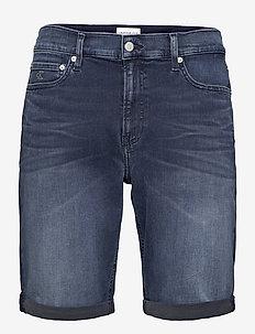 SLIM SHORT - denim shorts - denim dark