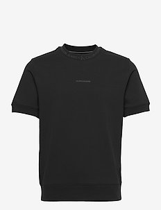 LOGO JACQUARD SS CREW NECK - basic t-shirts - ck black