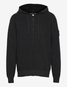 TEXTURED ZIP THROUGH HOODIE - sweats à capuche - ck black