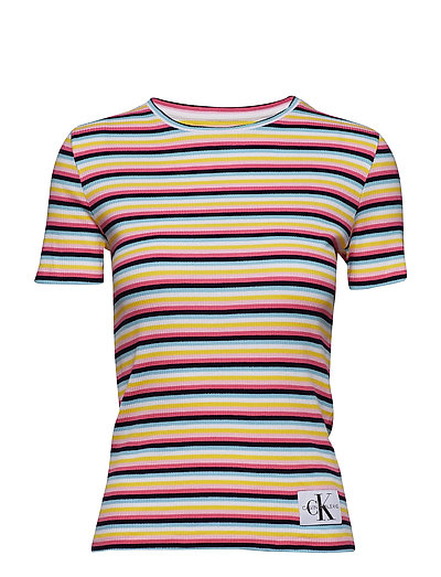 STRIPE RIB T-SHIRT, - YELLOW/RED/BLUE/WHITE
