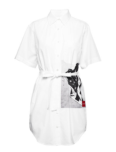FLAG PRINT SHIRT DRE - BRIGHT WHITE