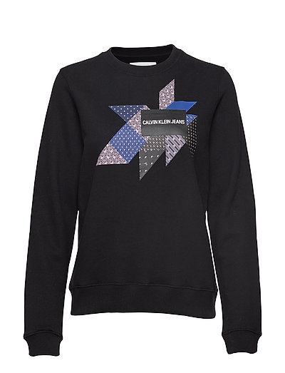 Quilt Graphic Crew N Sweat-shirt Pullover Schwarz CALVIN KLEIN JEANS