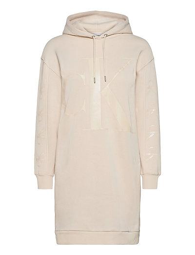 Eco Ck Logo Hoodie Dress Kurzes Kleid Creme CALVIN KLEIN JEANS | CALVIN KLEIN SALE