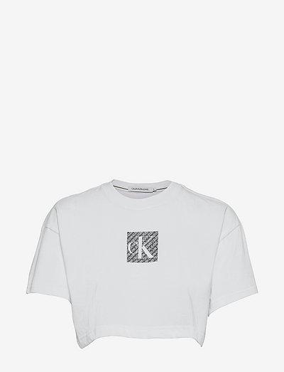 HOLOGRAM LOGO CROP TEE - t-shirts & tops - bright white