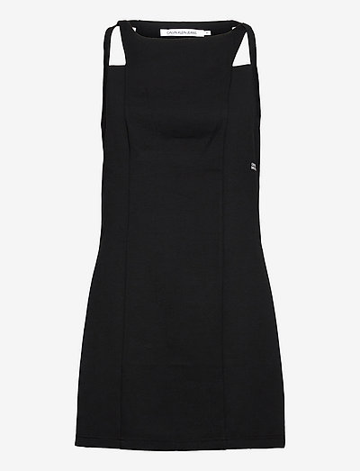 SIDE LOGO MILANO STRAPPY DRESS - summer dresses - ck black