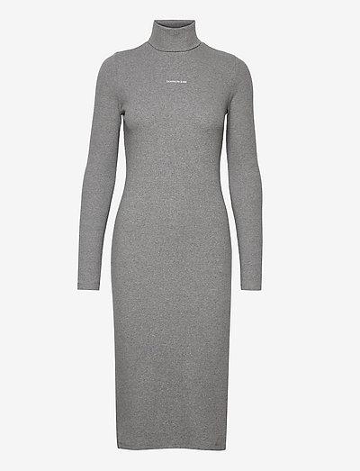 MICRO BRANDING ROLL NECK DRESS - sommerkleider - grey heather