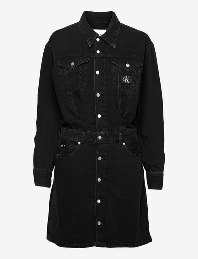 A-LINE DENIM JACKET DRESS - skjortekjoler - denim black