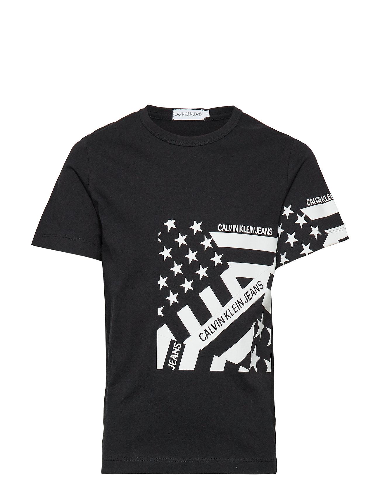 Calvin Klein FLAG PRINT OCO TEE, - BLACK
