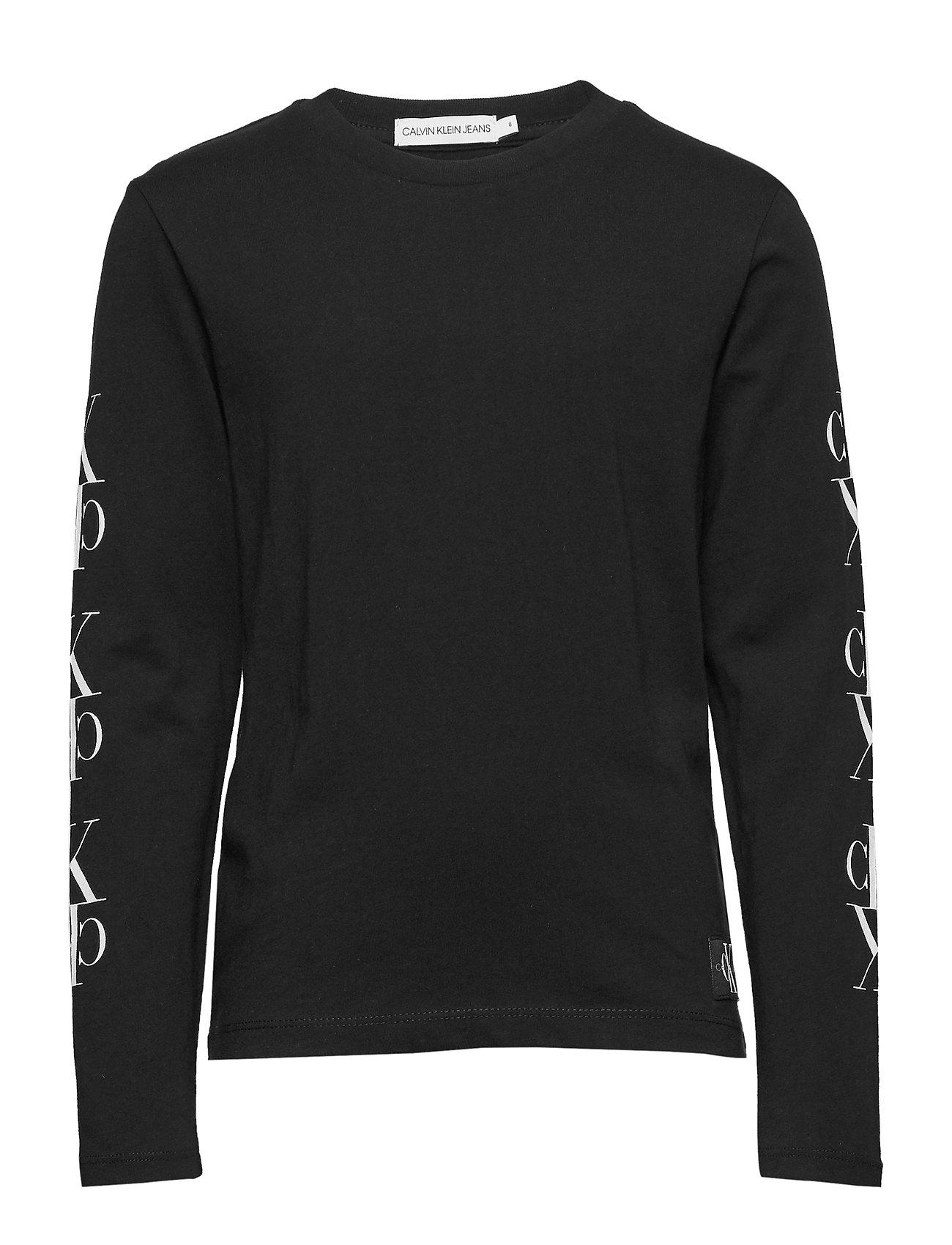 Image of Mirror Monogram Ls T-Shirt Langærmet T-shirt Sort Calvin Klein (3285598435)