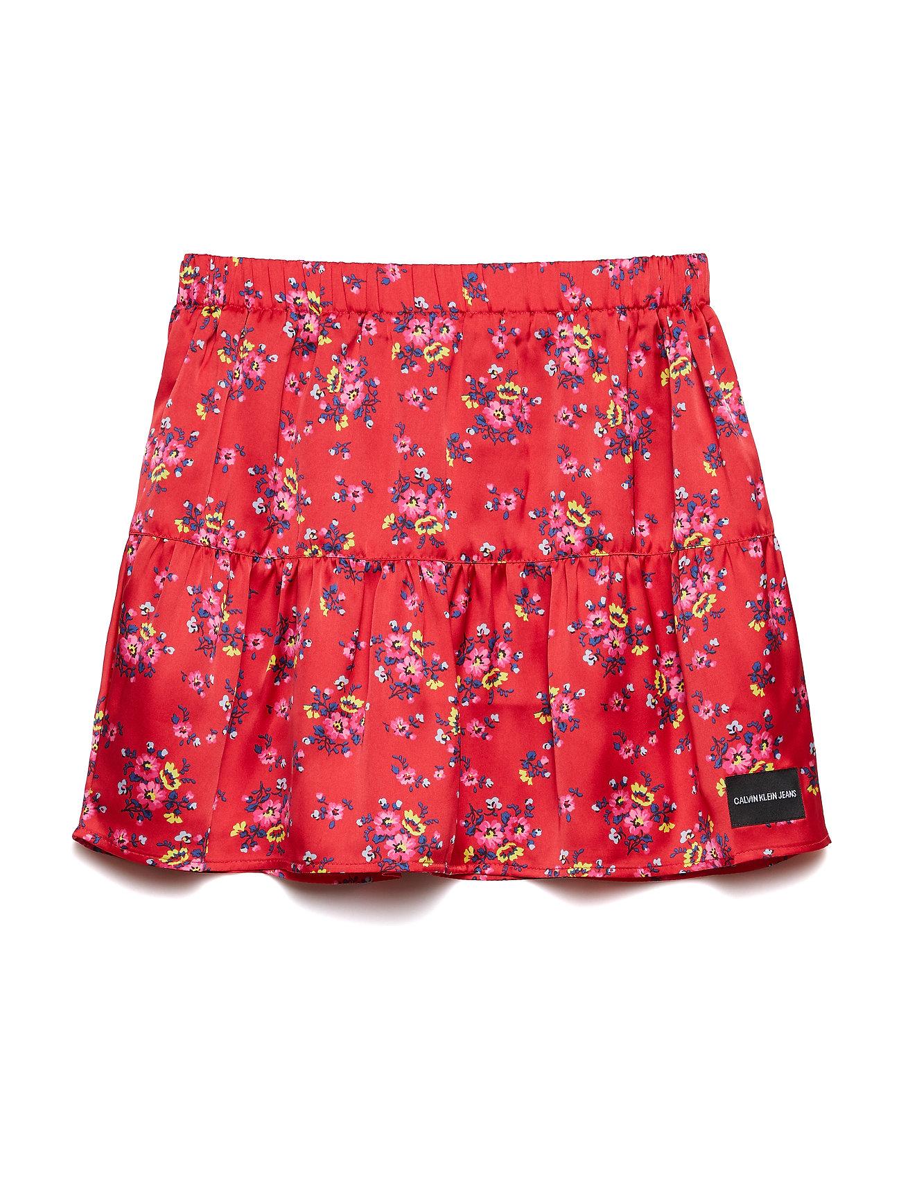 Calvin Klein SATIN FLOWER SKIRT - RACING RED