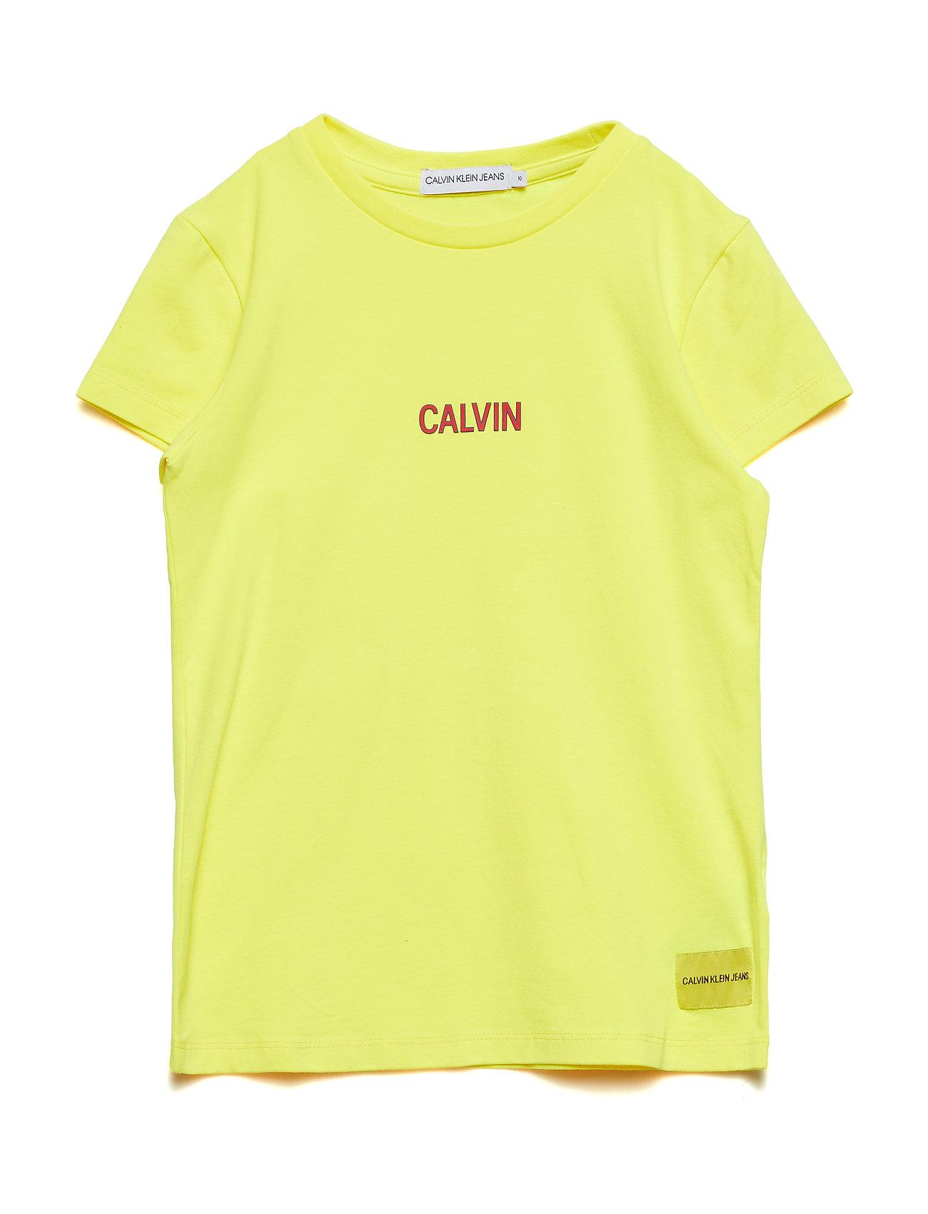 Calvin Klein SMALL CALVIN LOGO SLIM FIT TEE - LEMON TONIC