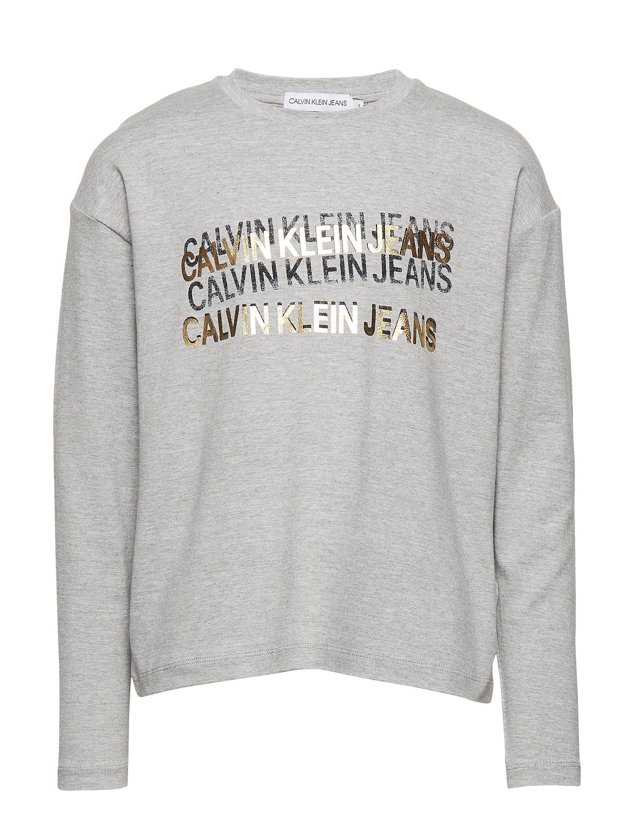 Image of Foil Triple Logo Ls T-Shirt Langærmet T-shirt Grå Calvin Klein (3217406169)