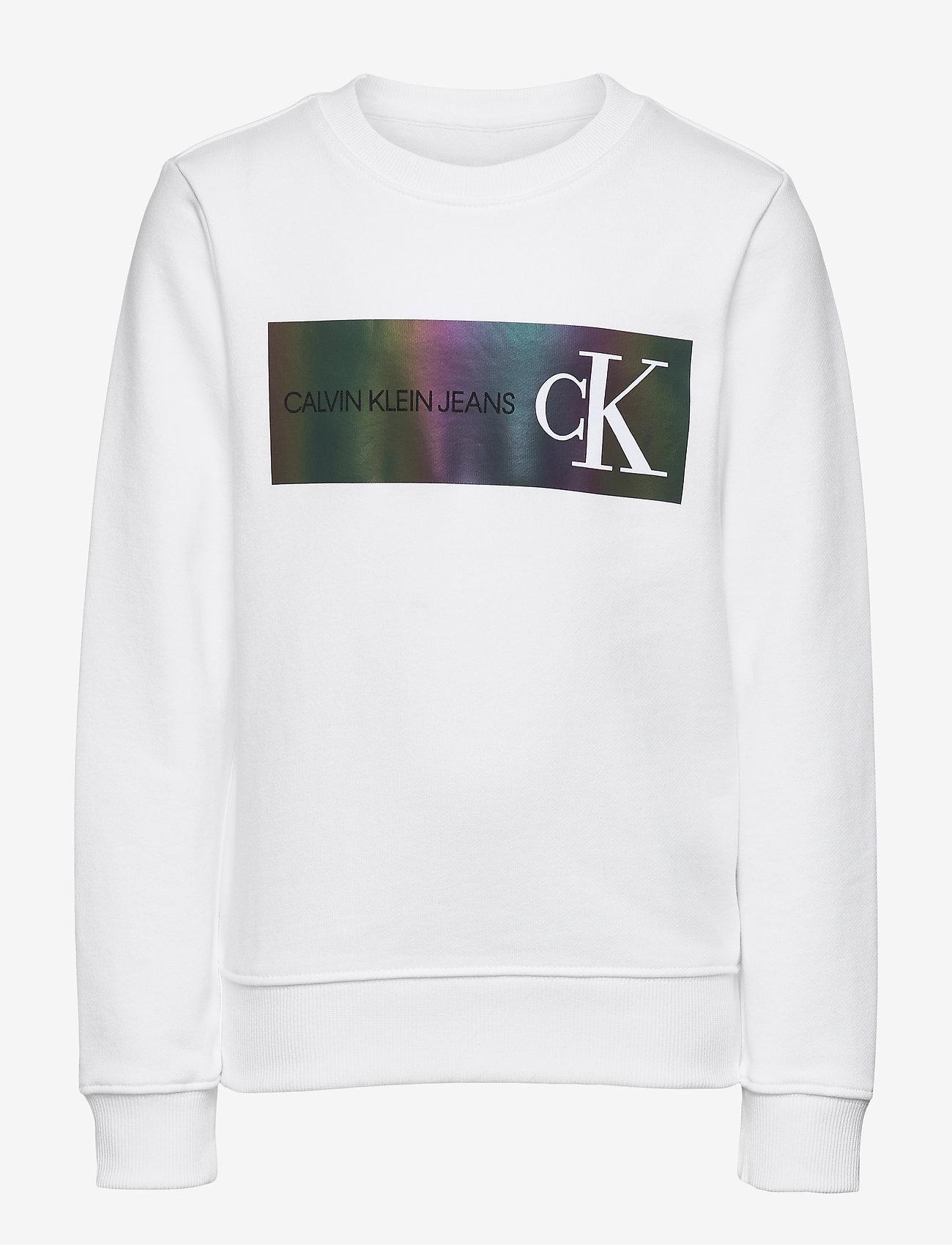 Calvin Klein - REFLECTIVE LOGO SWEATSHIRT - sweatshirts - bright white - 0