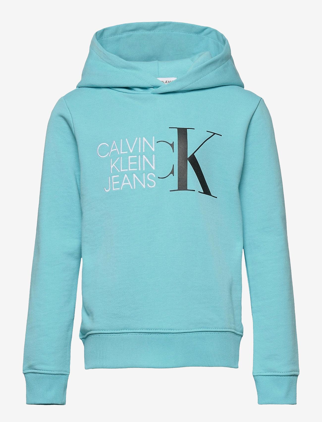 Calvin Klein - HYBRID LOGO HOODIE - kapuzenpullover - bright sky - 0