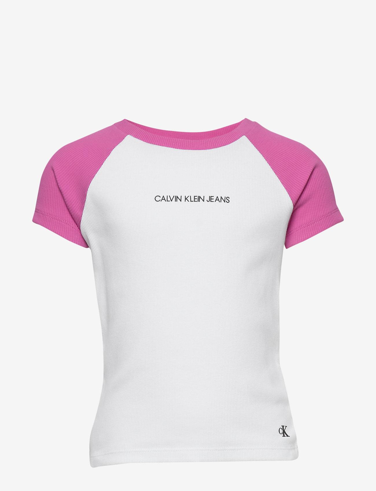 Calvin Klein - COLORBLOCK RIB SS TOP - korte mouwen - vivid pink - 0