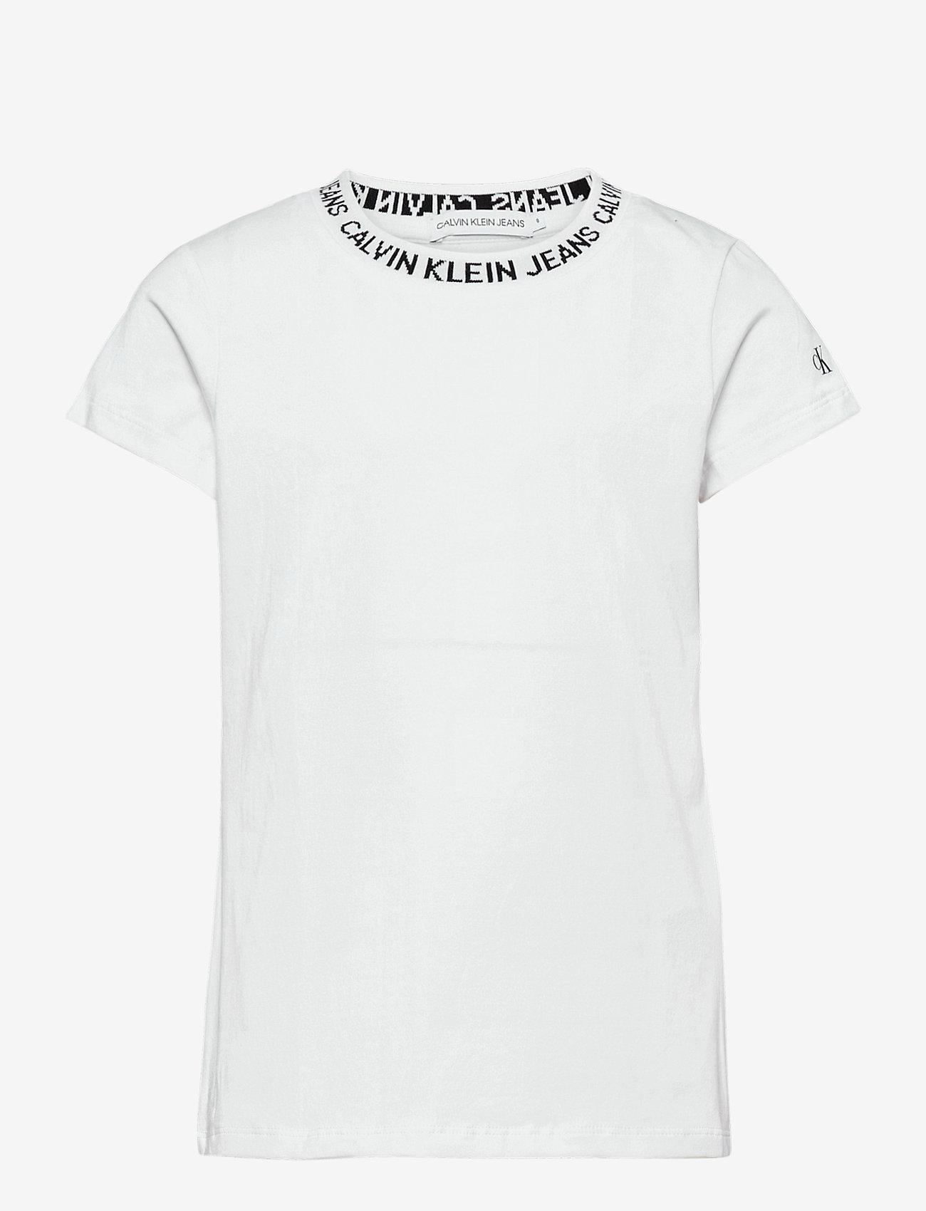 Calvin Klein - LOGO INTARSIA SS T-S - kurzärmelige - bright white - 0