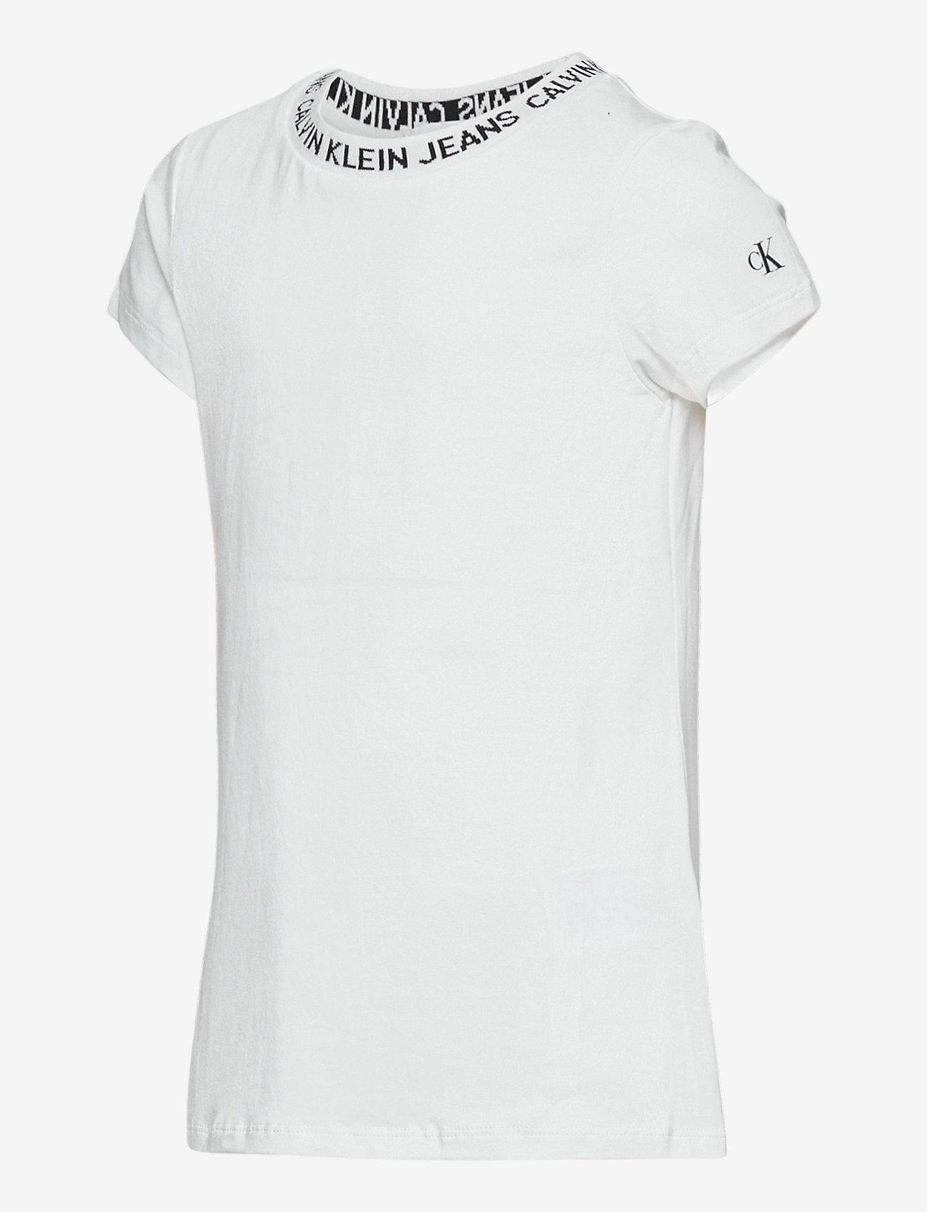 Calvin Klein - LOGO INTARSIA SS T-S - kurzärmelige - bright white - 1