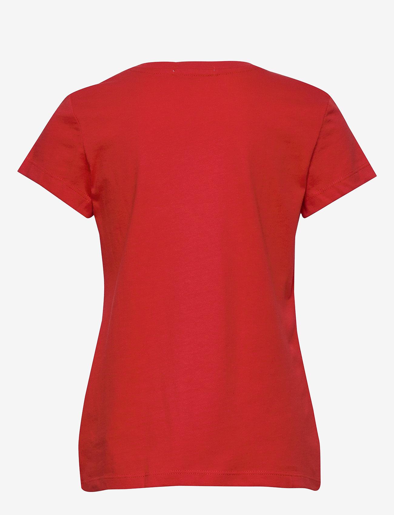 Calvin Klein - METALLIC CHEST LOGO SLIM TOP - korte mouwen - fierce red - 1