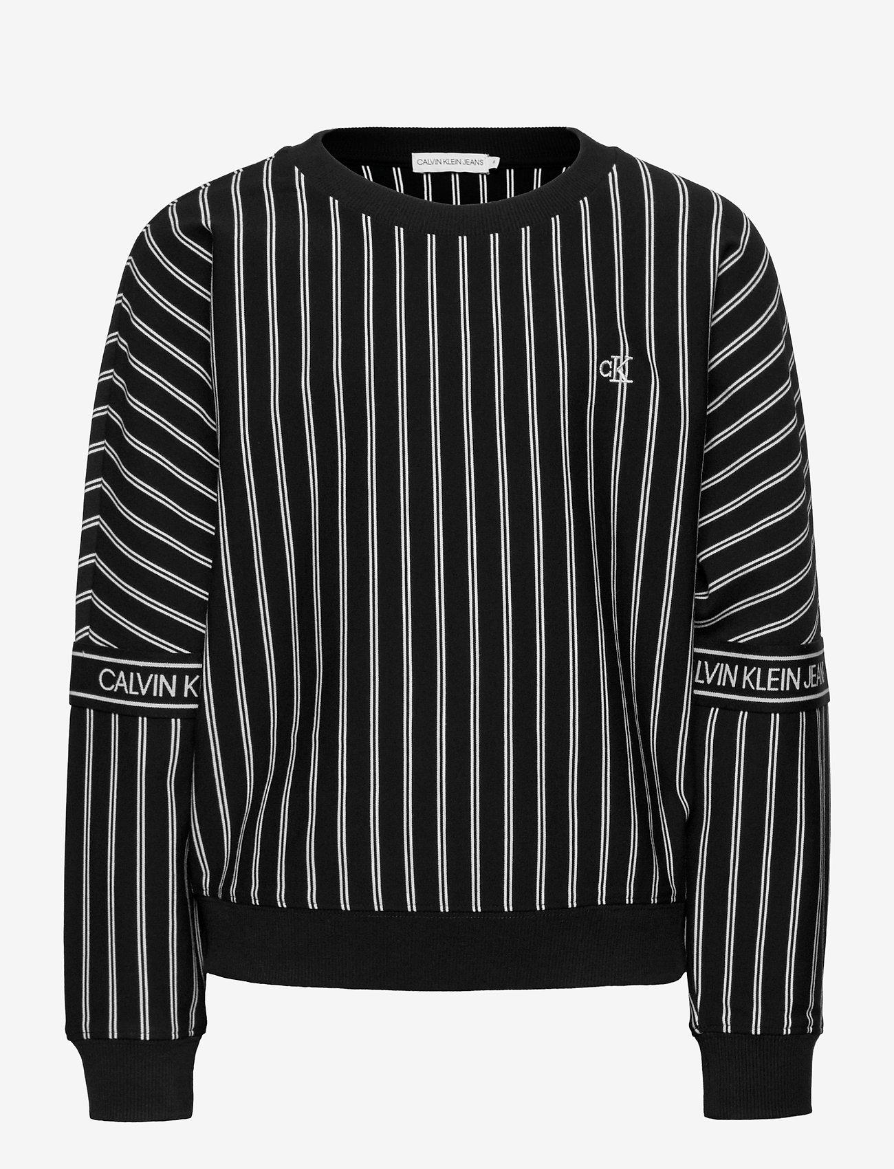 Calvin Klein - STRIPE LOGO TAPE SWEATSHIRT - sweatshirts - ck black city yd stripe - 0