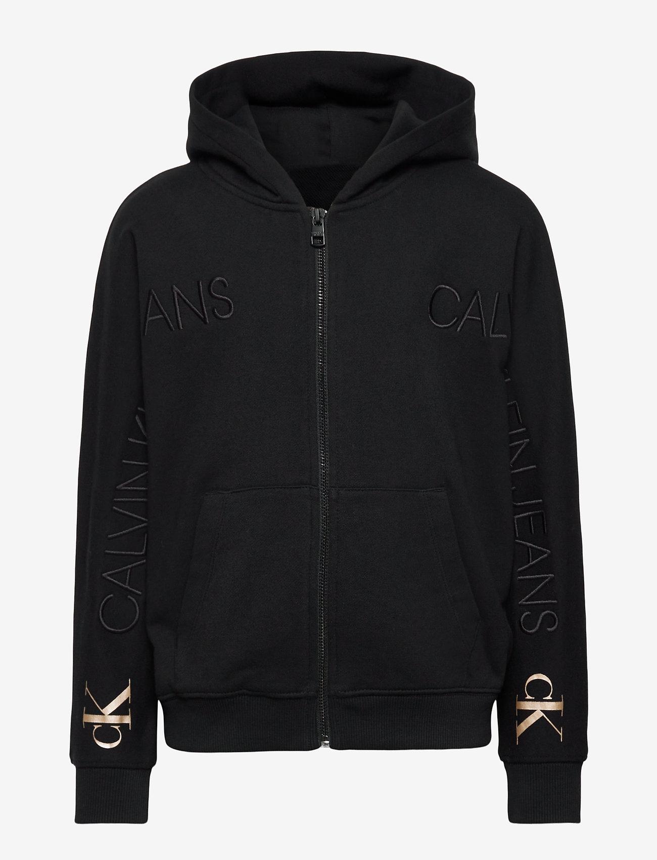 Calvin Klein - LOGO EMBROIDERY ZIP THROUGH - kapuzenpullover - ck black - 0