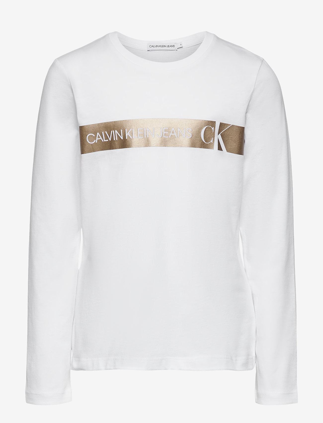 Calvin Klein - FOIL LOGO SLIM LS T-SHIRT - langärmelig - bright white - 0