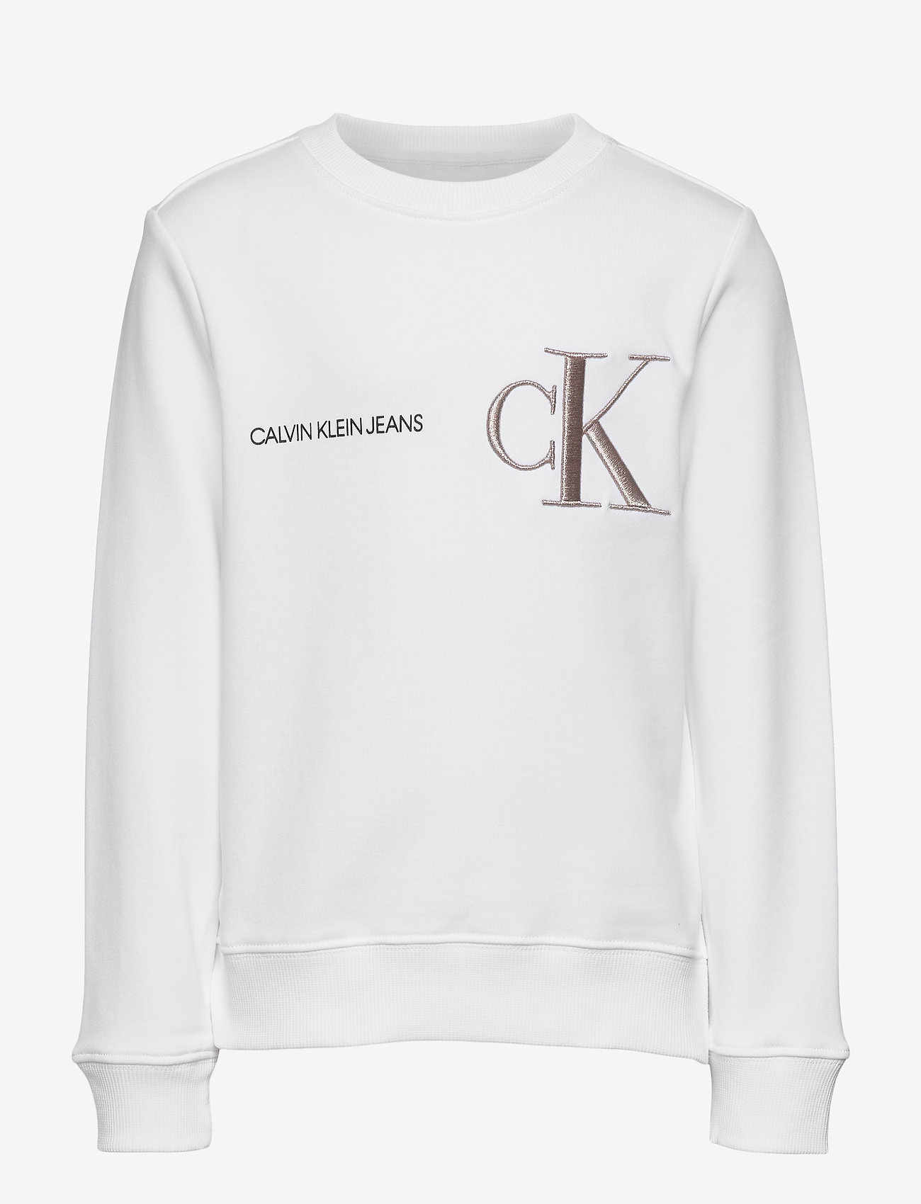 Calvin Klein - RAISED MONOGRAM SWEATSHIRT - sweatshirts - bright white - 0