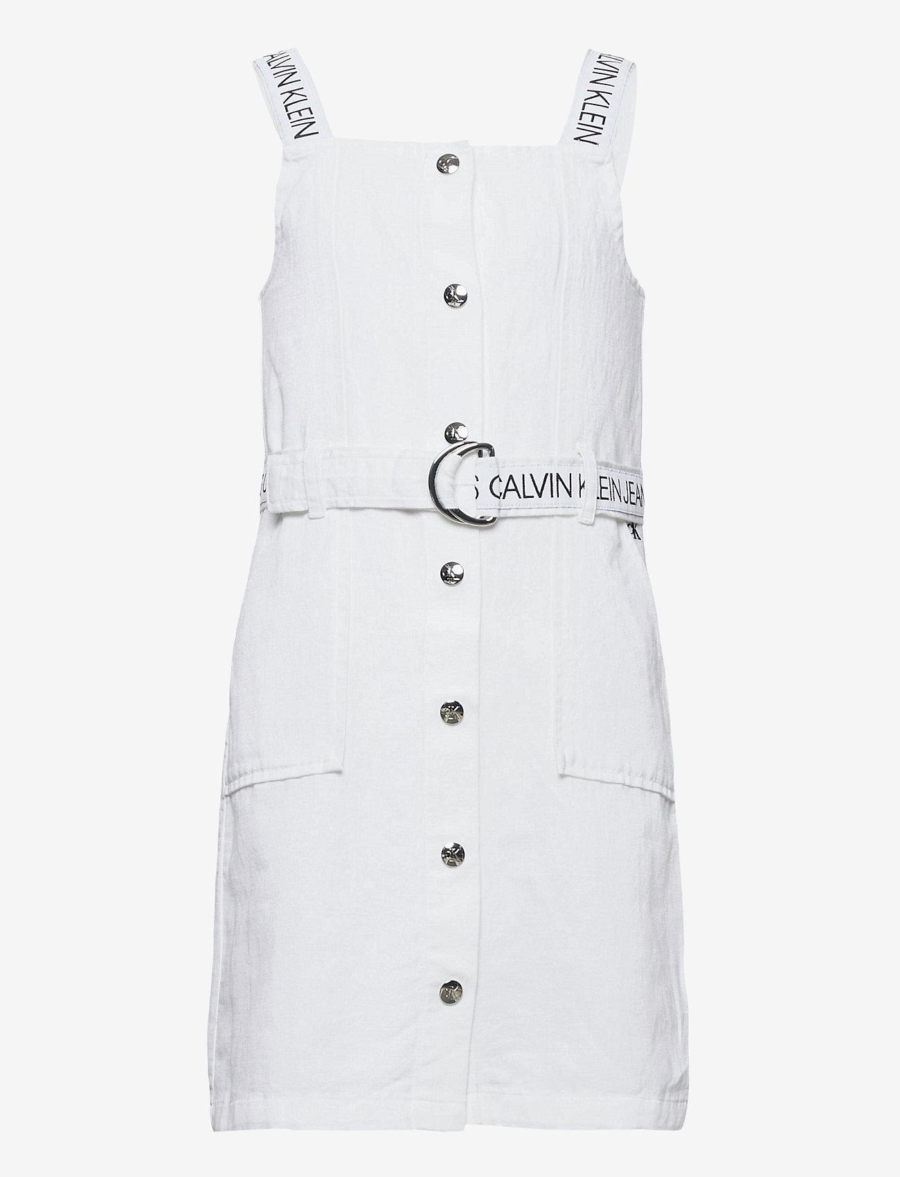Calvin Klein - BUTTON DOWN LOGO STRAP DRESS - kleider - bright white - 0