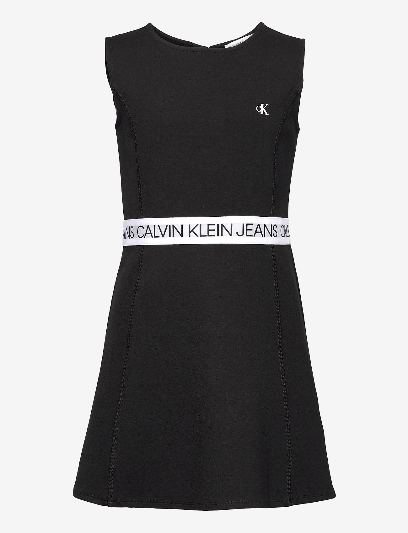 Calvin Klein - LOGO TAPE PUNTO SLEEVELESS DRESS - kleider - ck black - 0