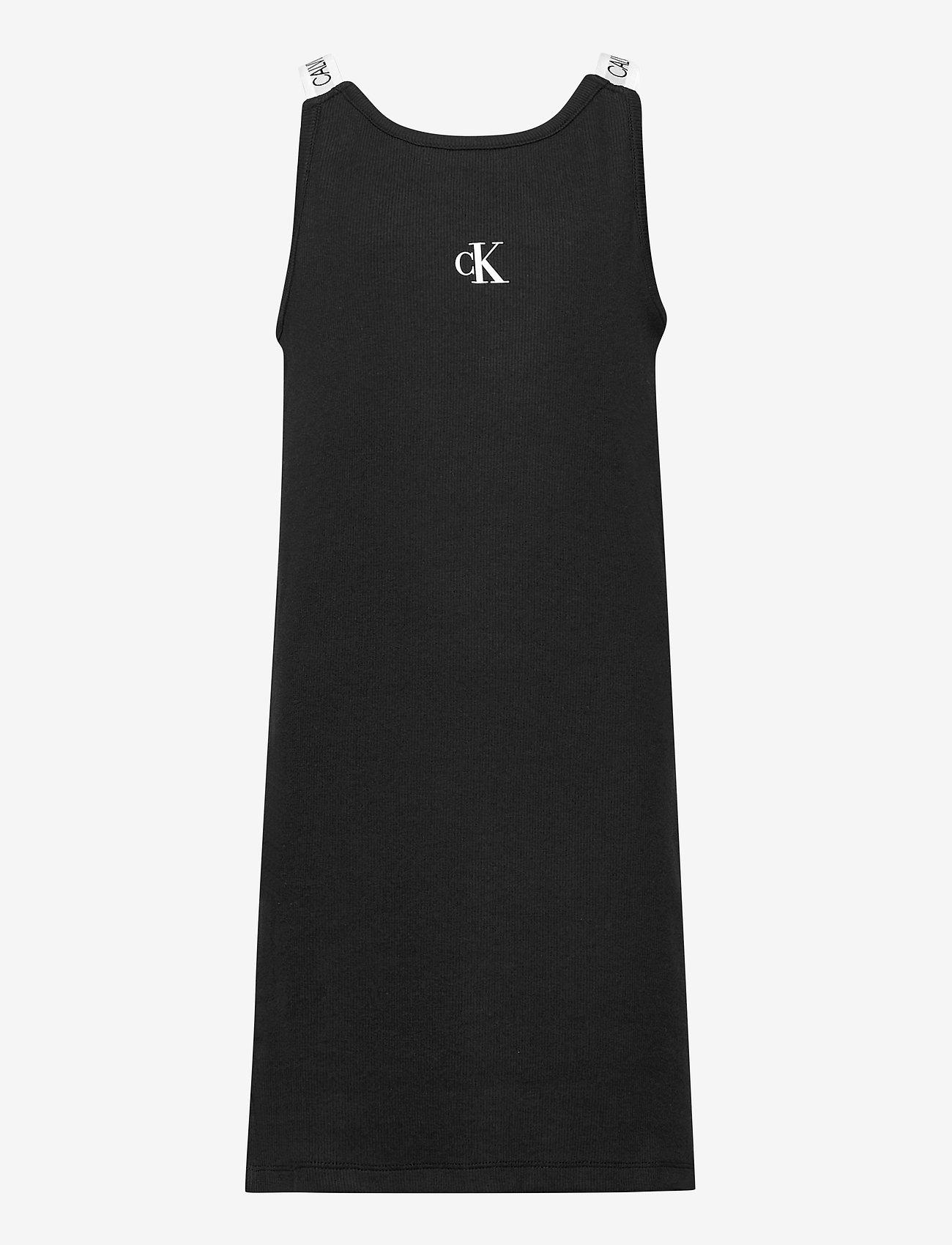 Calvin Klein - LOGO TAPE RIB STRAP DRESS - kleider - ck black - 0