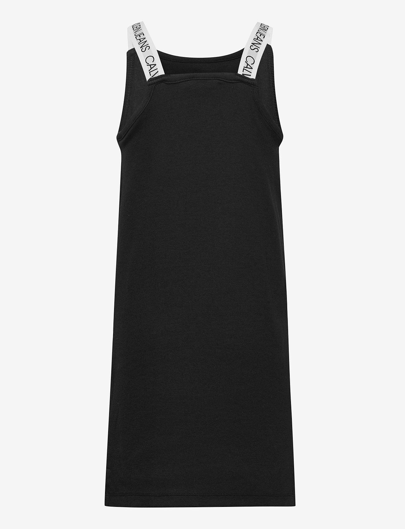 Calvin Klein - LOGO TAPE RIB STRAP DRESS - kleider - ck black - 1