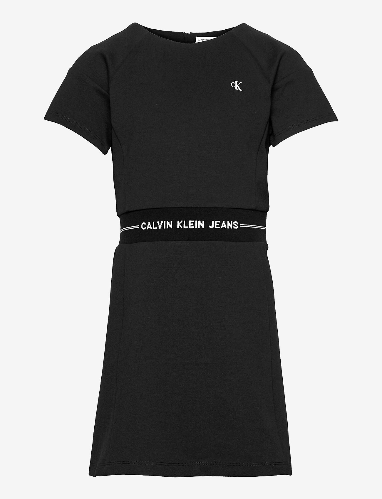 Calvin Klein - INTARSIA LOGO WAIST PUNTO DRESS - kleider - ck black - 0