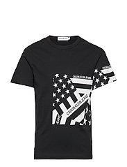 FLAG PRINT OCO TEE, - BLACK